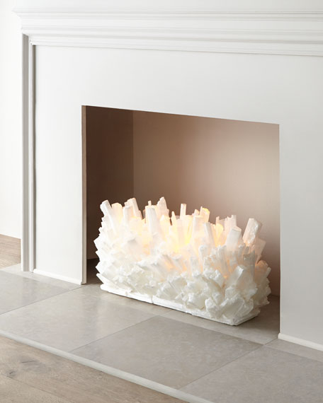 "Selenite Fireplace Sculpture, 30""W"