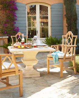 "Alexandra Outdoor Urn-Pedestal Table & ""Italian"" Outdoor Armchair"