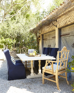 "Sophia Outdoor Dining Table, ""Italian"" Armchair, & Upholstered Side Chair"