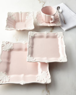 12-Piece Pink Square Baroque Dinnerware Service
