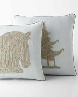 Jonathan Adler Beaded Linen Pillows