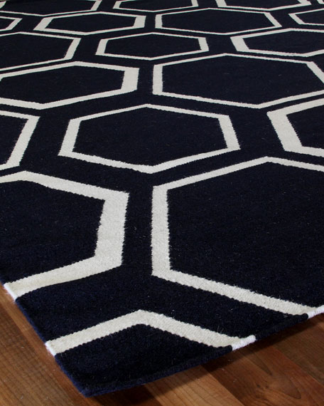 Dark Gray Honeycomb Rug, 5' x 8'