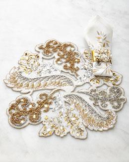 Kim Seybert Golden Masquerade Placemat, Leaf Napkin, & Spectrum Napkin Ring