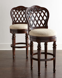 Swivel bar stools in solid wood with leather for home bars for Luxury leather bar stools