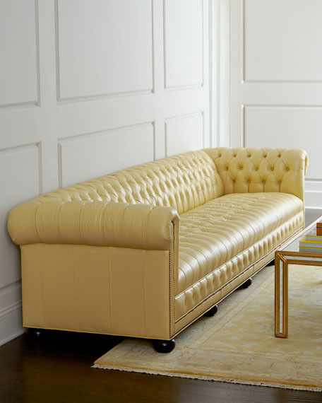 Leather Furniture Hickory North Carolina: Old Hickory Tannery Zerenity Chesterfield Leather Sofa