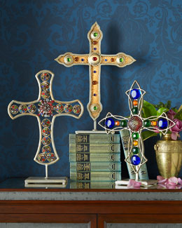 Janice Minor Iron & Glass Tabletop Crosses