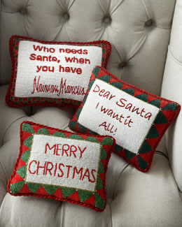 Hand-Beaded Christmas Pillows