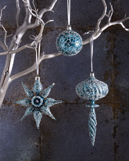 Icy Blue Christmas Ornaments