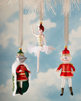 De Carlini Nutcracker Suite Glass Christmas Ornaments