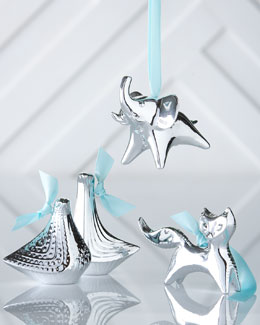 Silver-Plated Animal Christmas Ornaments