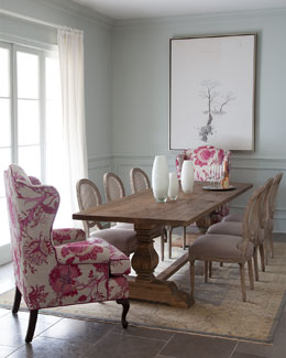 Natural Dining Table, Priscilla Wing Chair, & Bissett Side Chairs
