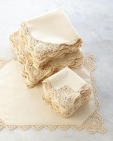 12 Ivory Crochet-Edge Luncheon Napkins