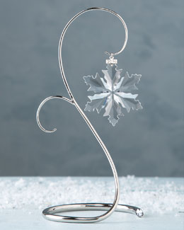 SWAROVSKI 2014 Annual Snowflake Ornament & Ornament Display