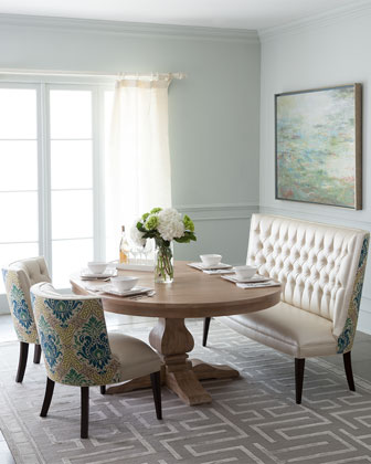 Haute house taylor pedestal dining table tiffany seating for Makeup by tiffany d dining room