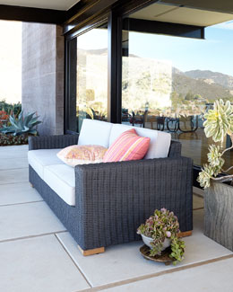 Dawson's Reef Outdoor Wicker Sofa & Cushions