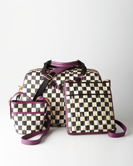 MacKenzie-Childs Courtly Check Travel Bags with Plum Trim