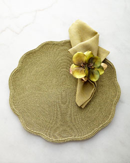 Deborah Rhodes Glimmer Scalloped Placemat, Metallic Jacquard Napkin, & Luxe Orchid Napkin Ring