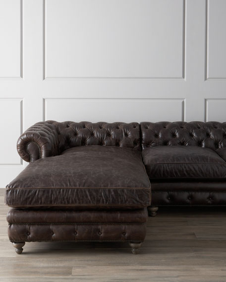 "Warner Leather Collection 90"" Chesterfield Sofa"