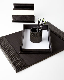 NM EXCLUSIVE Black Crocodile-Print Leather Desk Accessories