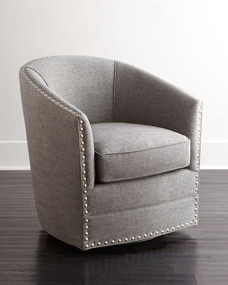 Bryn St. Clair Red Velvet Swivel Chair