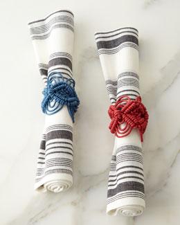 Juliska Provence Stripe Napkin & Macrame Napkin Ring