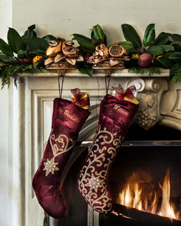 Sudha Pennathur Beaded Velvet Christmas Stockings