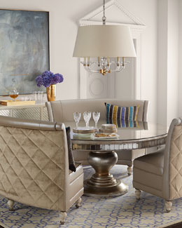 Old Hickory Tannery Patrice Banquette & Lisandra Round Dining Table
