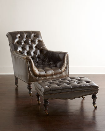 Tufted Moss Chair & Ottoman