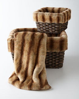 Faux-Mink Throw & Faux-Fur-Lined Baskets