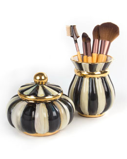 Courtly Stripe Puff Box & Brush Jar