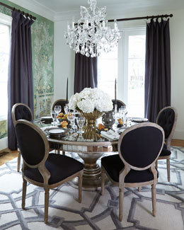 Black Linen Dining Chairs & Lisandra Dining Table