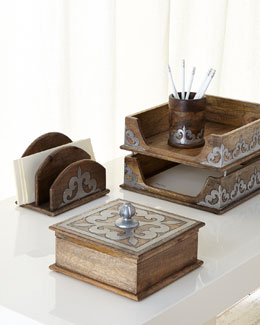 Wood & Metal Inlay Desk Accessories