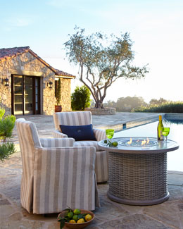 Katherine Outdoor Armchair, Madison Bay Firepit, & Firepit Screen