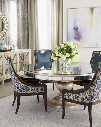 Beautiful Lisandra Antiqued Mirrored Round Dining Table