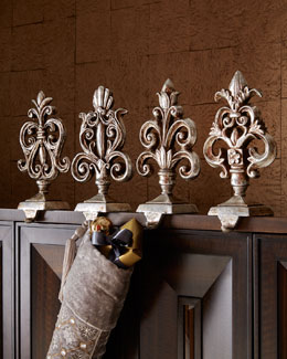Antiqued-Silver Baroque Stocking Hooks