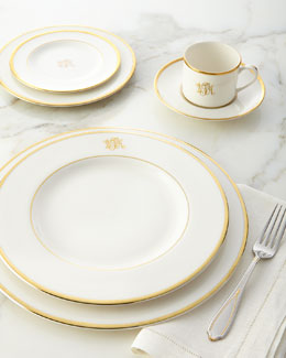 White Script Monogram Dinnerware