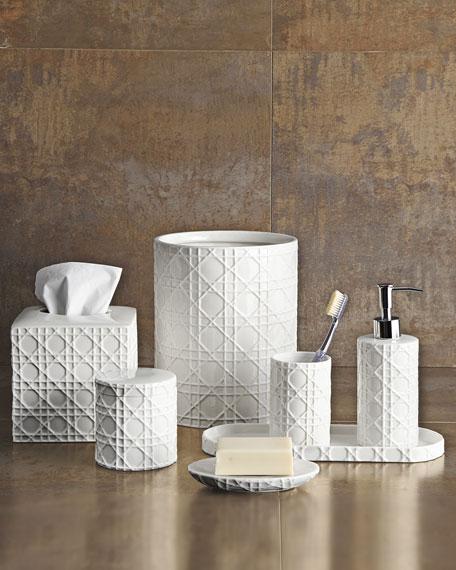 Cane Embossed Porcelain Cotton Jar
