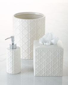 Kassatex Cane Embossed Porcelain Vanity Accessories