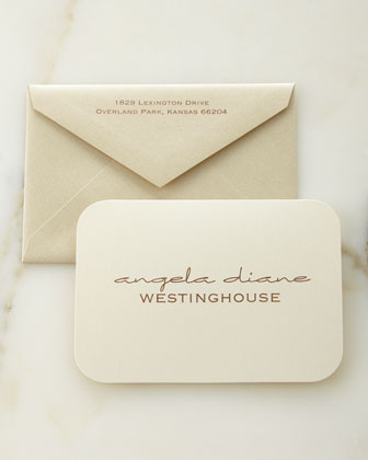 Ecru Shimmer Personalized Folded Notes with Envelopes
