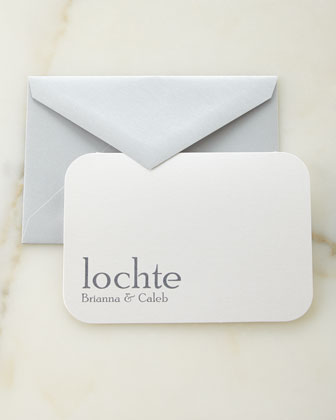 Slate Raised Ink Personalized Cards and Envelopes
