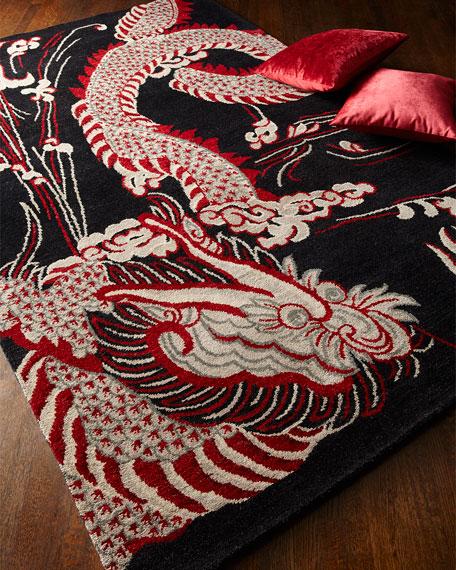 Josie Natori Black Dragon Rug