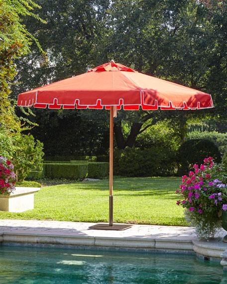 Red Keyhole Valance Outdoor Market Umbrella