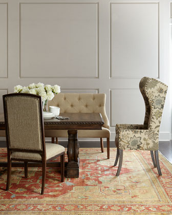 Floral Wing Chair  Julissa Banquette  Donabella Side Chairs  & Donabella Dining Table