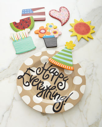 Happy Everything Neutral-Dot Platter with Party Hat Attachment & Additional Attachments