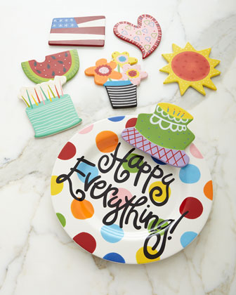 Happy Everything Bright-Dot Big Platter with Birthday Cake Attachment & Additional Attachments