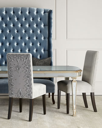 Eliza Dining Table, Silver Caramel Dining Chair, & Margo Tufted Banquette