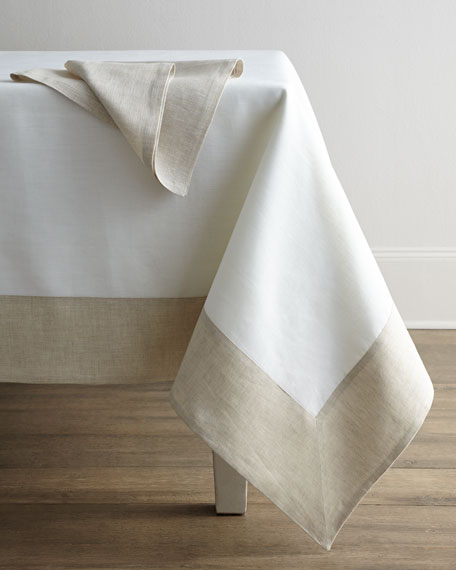 "Hamptons Beige Tablecloth, 70"" x 108"""