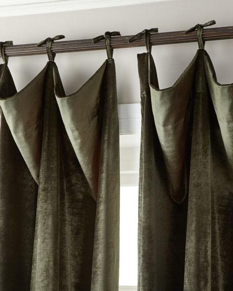 """108""""L Tie-Top Velvet Curtain"""