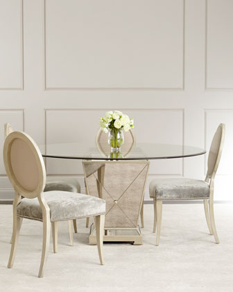 Milo Mirrored Dining Table & Gwyneth Dining Chair
