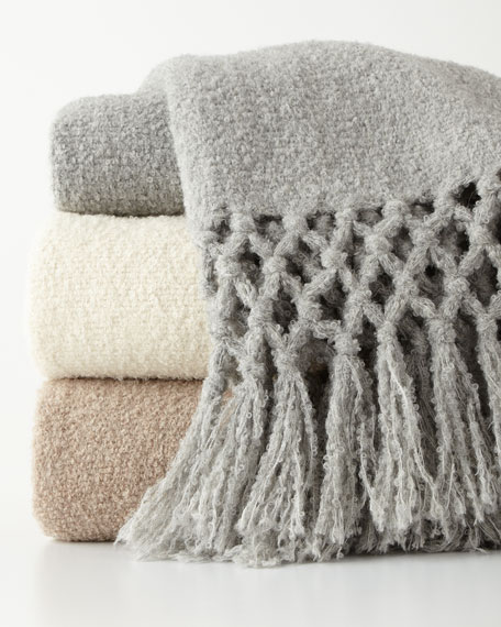 Maya Silver Boucle Throw